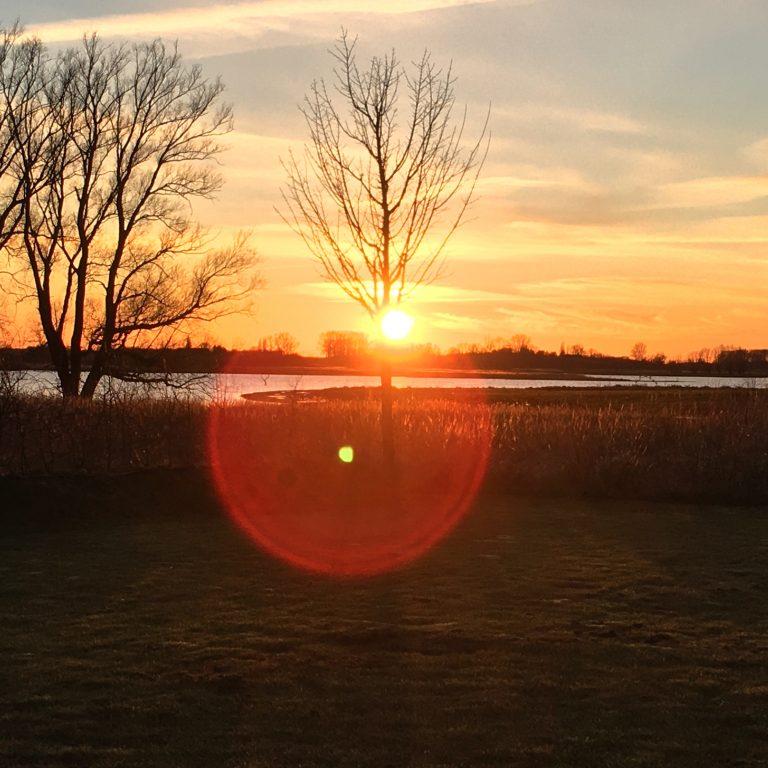 Sonnenuntergang am Ferienhaus MeerZeit